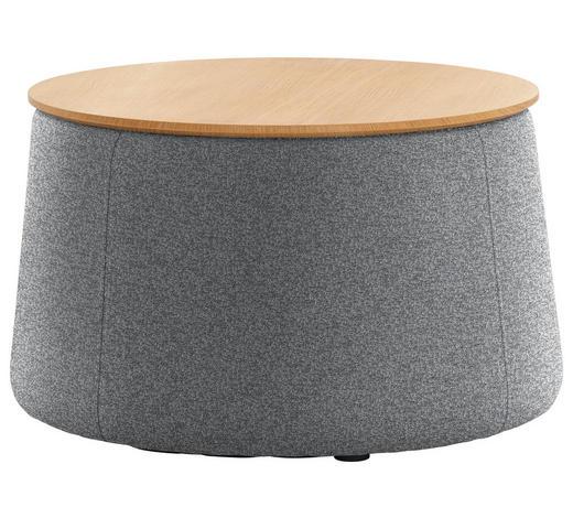 HOCKER in Holz, Textil Grau, Eichefarben - Eichefarben/Grau, Design, Holz/Textil (77/43cm) - Innovation