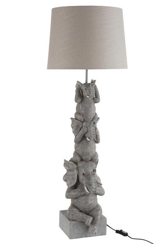TISCHLEUCHTE - Hellgrau/Grau, LIFESTYLE, Kunststoff/Textil (37/37/101cm)