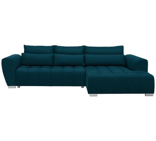 WOHNLANDSCHAFT in Textil Petrol  - Silberfarben/Petrol, MODERN, Kunststoff/Textil (304/218cm) - Carryhome