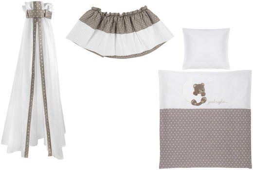 STUBENWAGENSET Traumbär - Taupe/Weiß, Basics, Textil - My Baby Lou