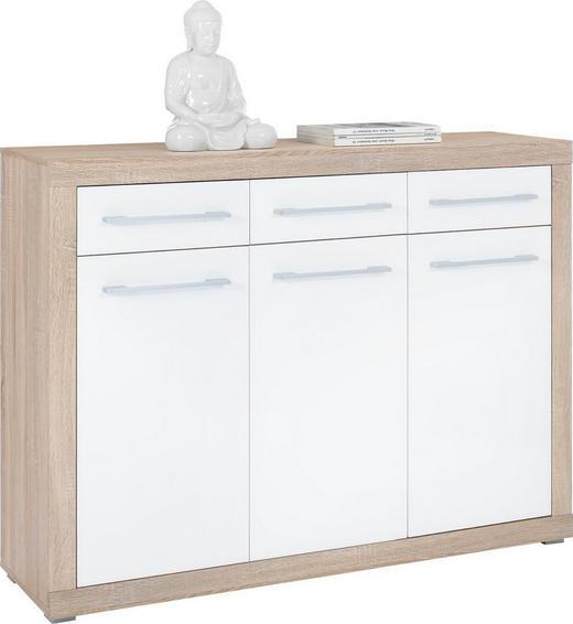 KOMMODE Sonoma Eiche, Weiß - Silberfarben/Weiß, Design, Holzwerkstoff/Kunststoff (137/103/40cm) - Boxxx