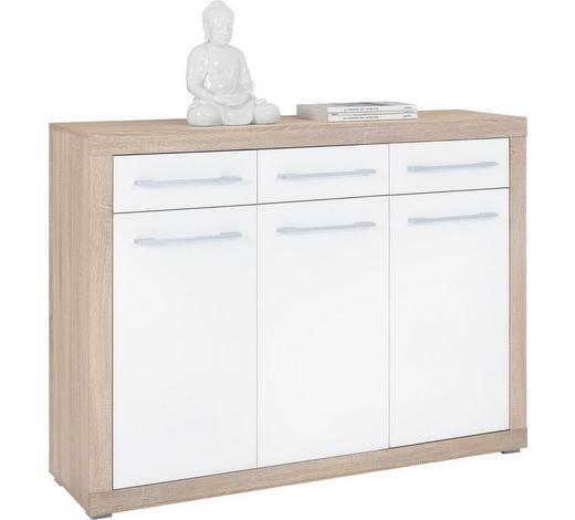 KOMMODE Weiß, Sonoma Eiche  - Silberfarben/Weiß, Design, Holzwerkstoff/Kunststoff (137/103/40cm) - Boxxx