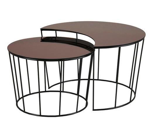 SADA STOLŮ, černá, bronzová - černá/bronzová, Trend, kov/sklo (76/58/76/85/45/50cm) - Ambia Home