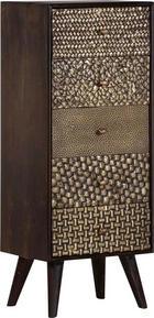 KOMMODE Mangoholz teilmassiv Dunkelbraun, Messingfarben - Dunkelbraun/Messingfarben, Design, Holz (45/112/37cm) - LANDSCAPE
