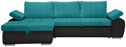 WOHNLANDSCHAFT in Textil Schwarz, Petrol  - Petrol/Schwarz, Design, Kunststoff/Textil (175/271cm) - Xora