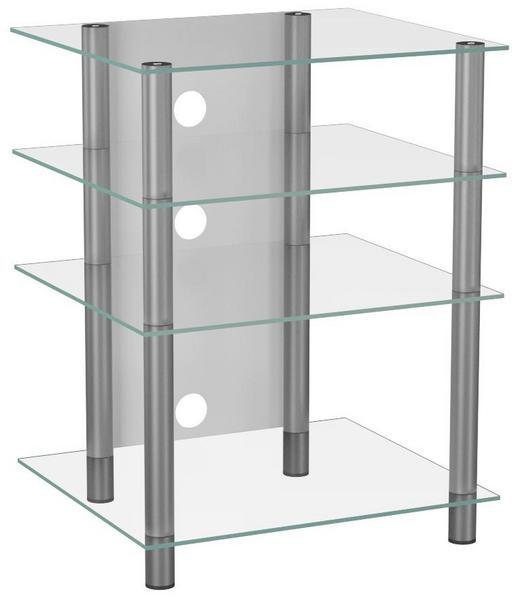 PHONOTISCH Glas, Metall Klar, Silberfarben - Klar/Silberfarben, KONVENTIONELL, Glas/Metall (59/70/47cm)