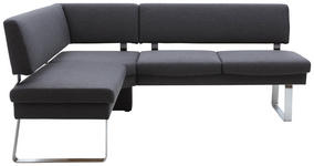 ECKBANK Flachgewebe Anthrazit, Edelstahlfarben - Edelstahlfarben/Anthrazit, Design, Textil/Metall (166/207cm) - Dieter Knoll