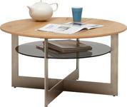COUCHTISCH in Holz, Metall, Glas, Holzwerkstoff  85/45 cm  - Edelstahlfarben/Eichefarben, Design, Glas/Holz (85/45cm) - Dieter Knoll