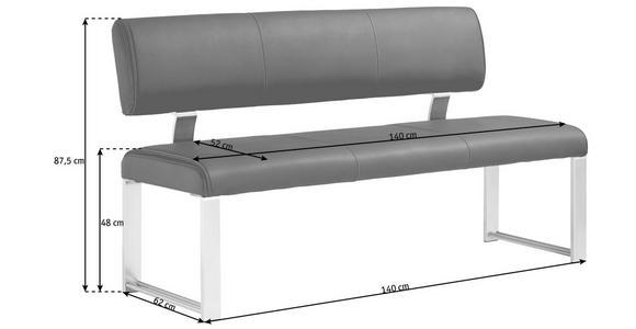 SITZBANK  in Braun, Edelstahlfarben  - Edelstahlfarben/Braun, Design, Textil/Metall (140cm) - Dieter Knoll