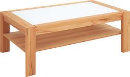 COUCHTISCH in Glas, Holz 115/65/45 cm - Buchefarben/Weiß, Design, Glas/Holz (115/65/45cm) - Linea Natura