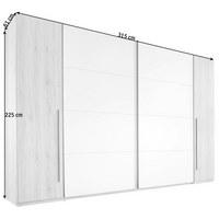 SCHWEBETÜRENSCHRANK in Weiß, Buchefarben  - Buchefarben/Alufarben, Design, Holzwerkstoff/Kunststoff (315/225/61cm) - Ti`me