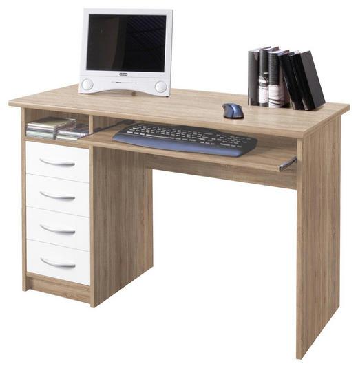 SCHREIBTISCH Sonoma Eiche, Weiß - Silberfarben/Weiß, Design, Kunststoff (110/75/55cm) - Boxxx