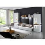 WOHNWAND Weiß, Silbereichenfarben  - Silberfarben/Weiß, Design, Glas/Holzwerkstoff (340/208/51,8cm) - Xora