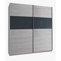 ORMAR S KLIZNIM VRATIMA - siva/boje hrasta, Design, drvni materijal/drvo (179/198/64cm) - Xora