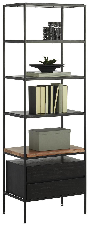 REGAL in Schwarz, Akaziefarben - Schwarz/Akaziefarben, Design, Holz/Holzwerkstoff (55/160/35cm)