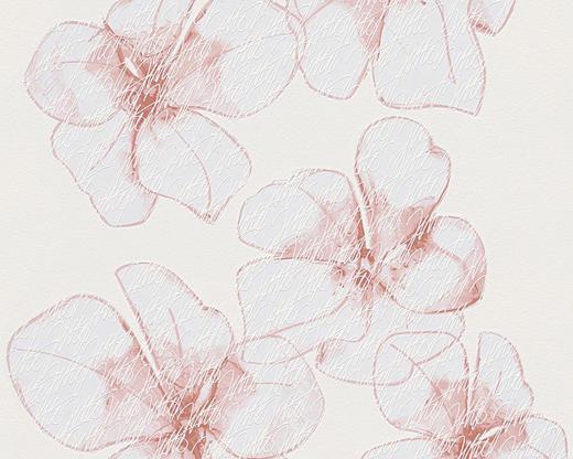 Vliestapete  mit Blumenmuster 10,05 m - Hellrot/Rostfarben, Basics, Textil (53/1005cm)