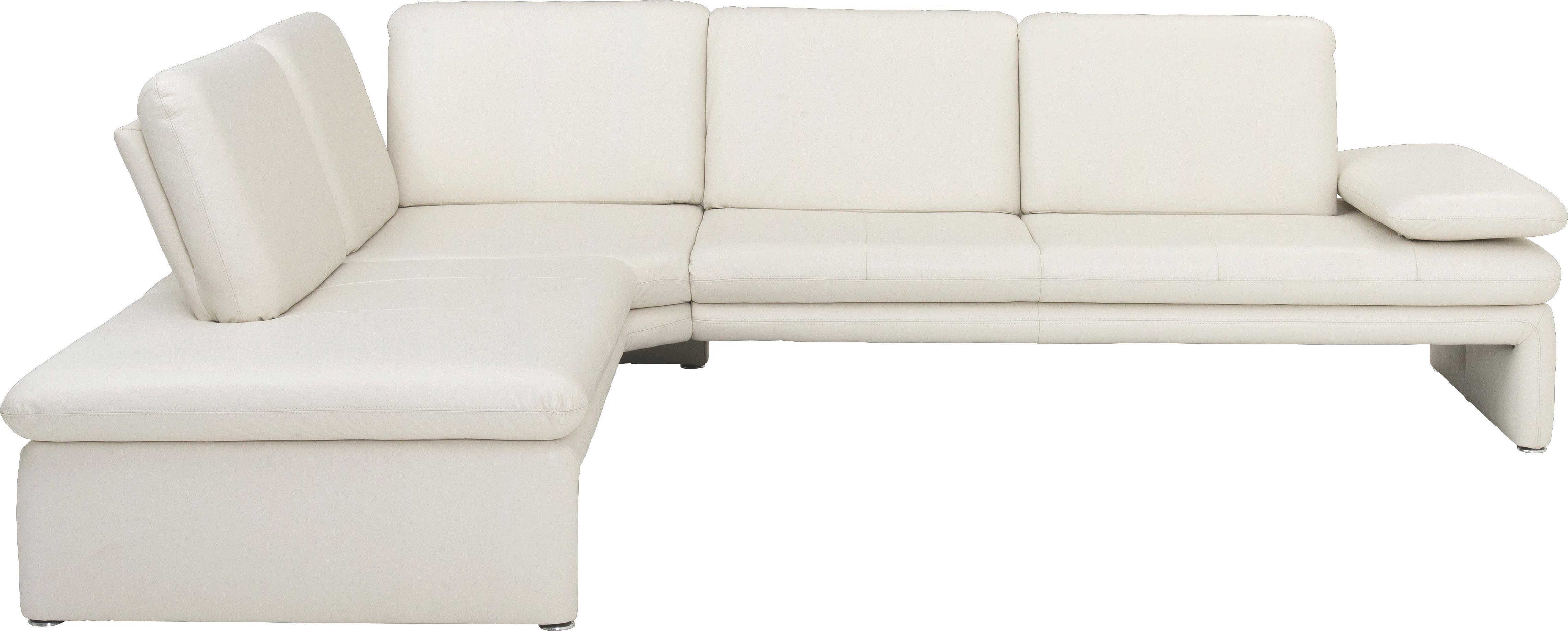WOHNLANDSCHAFT Echtleder - Silberfarben/Weiß, Design, Leder/Metall (223/281cm) - CHILLIANO