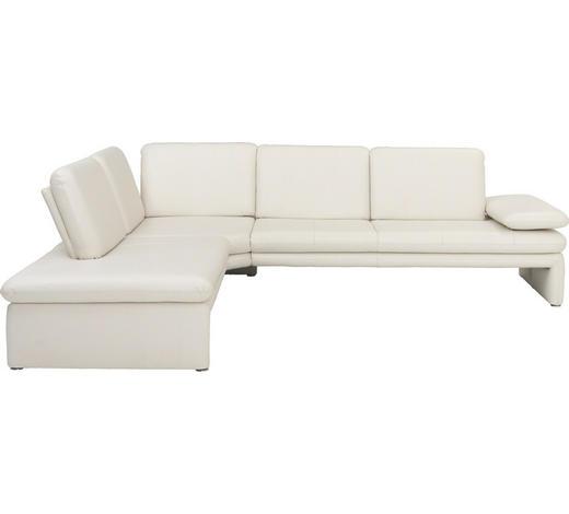 WOHNLANDSCHAFT Weiß Echtleder  - Silberfarben/Weiß, Design, Leder/Metall (223/281cm) - Chilliano