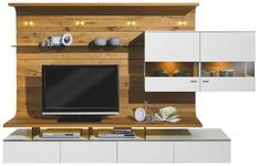 WOHNWAND Eiche furniert Weiß, Eichefarben  - Eichefarben/Weiß, Design, Glas/Holz (292,5/186,8/41,2-55,7cm) - Moderano
