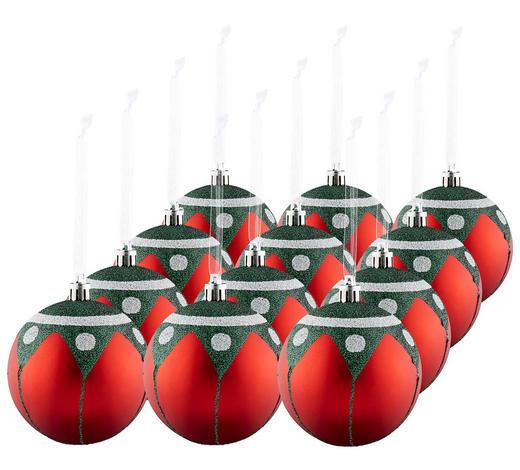 CHRISTBAUMKUGEL-SET 12-teilig Rot  - Rot, Basics, Kunststoff (8cm) - X-Mas