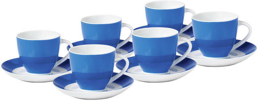 TASSENSET 6-teilig Keramik Porzellan Blau, Weiß - Blau/Weiß, Basics, Keramik (0,2l)
