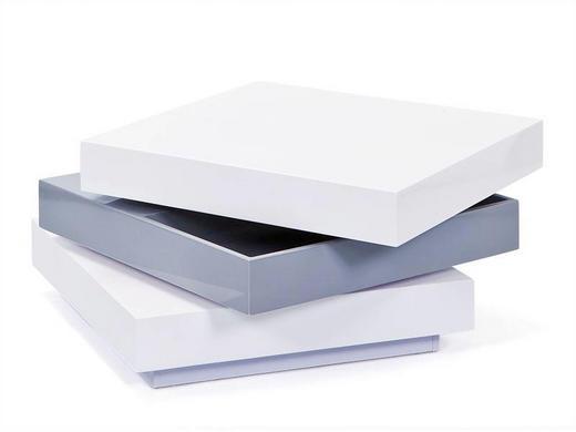 COUCHTISCH Grau, Weiß - Chromfarben/Weiß, Design (70/70/39cm) - Carryhome