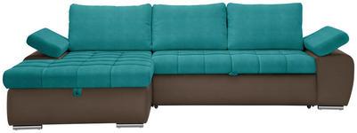 WOHNLANDSCHAFT in Textil Braun, Petrol - Petrol/Braun, Design, Kunststoff/Textil (175/271cm) - Xora