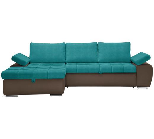WOHNLANDSCHAFT Braun, Petrol Flachgewebe  - Petrol/Braun, Design, Kunststoff/Textil (175/271cm) - Xora
