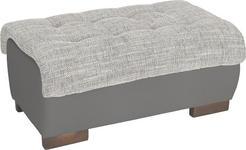HOCKER in Textil Grau, Hellgrau  - Wengefarben/Hellgrau, Design, Holz/Textil (98/43/66cm) - Carryhome
