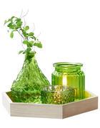 KERZENTELLER - Naturfarben/Grün, Basics, Glas/Holz (23/20/3cm) - Ambia Home