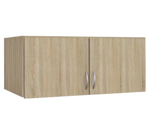 AUFSATZSCHRANK - Silberfarben/Sonoma Eiche, Basics, Holzwerkstoff/Kunststoff (91/39/54cm) - Boxxx