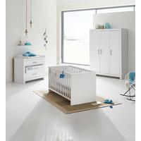 BABYKLEIDERSCHRANK Fiona Weiß - Silberfarben/Weiß, Trend, Holzwerkstoff/Metall (156,8/205,3/55,3cm) - Paidi