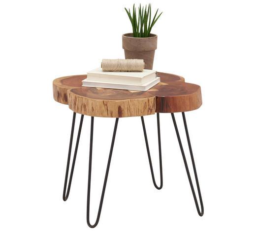 BEISTELLTISCH in Holz, Metall 51/51/48 cm - Schwarz/Akaziefarben, Trend, Holz/Metall (51/51/48cm) - Ambia Home