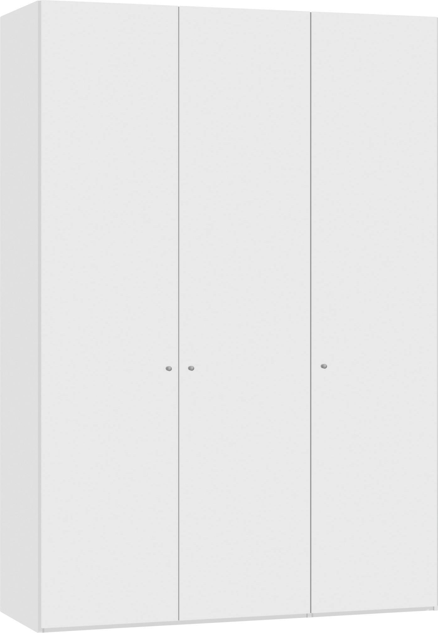 DREHTÜRENSCHRANK 3  -türig Weiß - Silberfarben/Weiß, Design, Holzwerkstoff/Metall (152,2/220/59cm) - JUTZLER