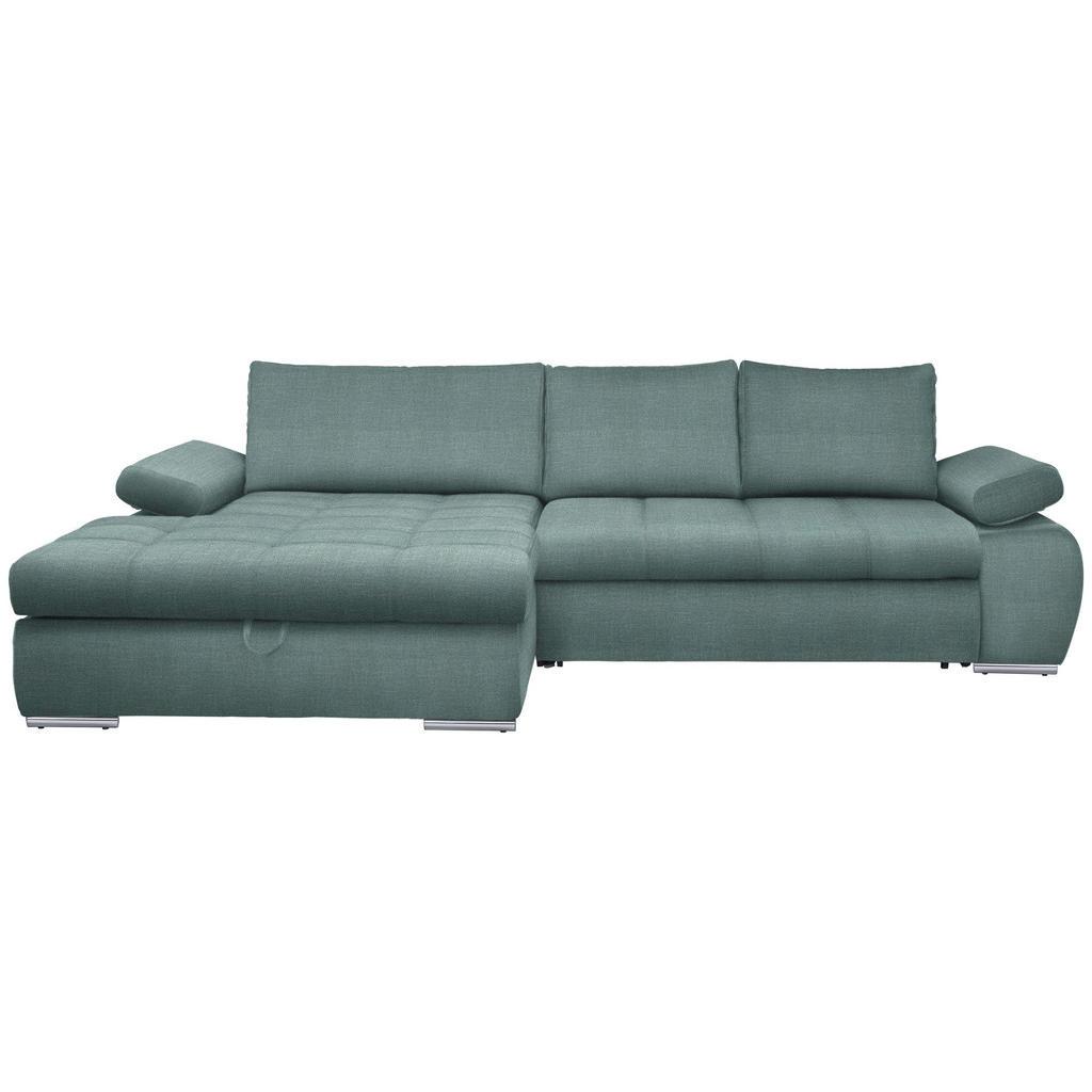 Carryhome WOHNLANDSCHAFT Armteilverstellung - Bettkasten - Rücken echt - Rückenkissen - Schlaffunktion - Blau