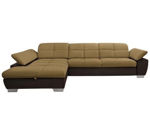 WOHNLANDSCHAFT in Textil Braun, Gelb  - Chromfarben/Gelb, Design, Textil/Metall (204/297cm) - Xora