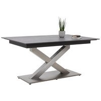 JÍDELNÍ STŮL - tmavě šedá/barvy nerez oceli, Design, kov/dřevěný materiál (160(210)/100/77cm) - DIETER KNOLL