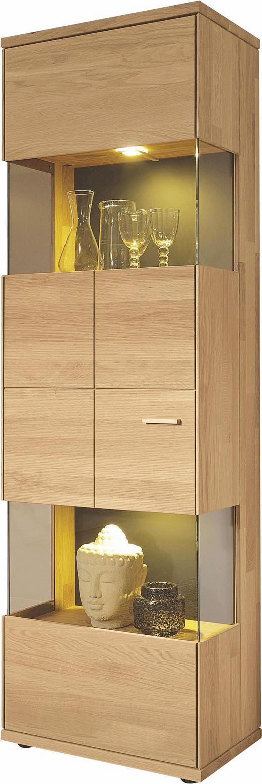 SCHRANK Kernbuche massiv naturgeölt Buchefarben - Buchefarben/Silberfarben, Design, Glas/Holz (63/200/40cm) - Musterring
