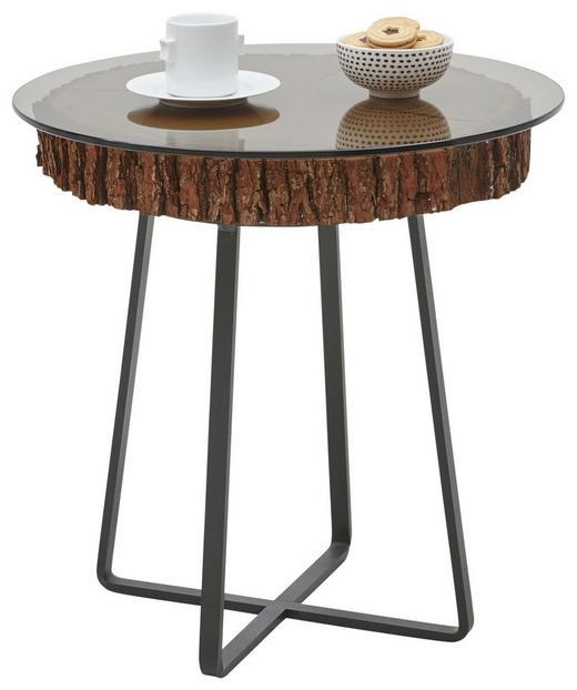 COUCHTISCH Kerneiche vollmassiv rund Anthrazit, Bronzefarben, Eichefarben - Eichefarben/Anthrazit, Design, Glas/Holz (52/52cm) - Valnatura