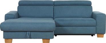 WOHNLANDSCHAFT Blau Flachgewebe - Blau/Eichefarben, Design, Textil (178/262cm) - Hom`in