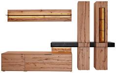WOHNWAND Buche massiv Buchefarben - Anthrazit/Buchefarben, Design, Glas/Holz (348/206/49cm) - Valnatura