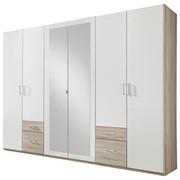 KLEIDERSCHRANK in Eichefarben, Weiß - Eichefarben/Silberfarben, Design, Glas/Holzwerkstoff (270/210/58cm) - Carryhome