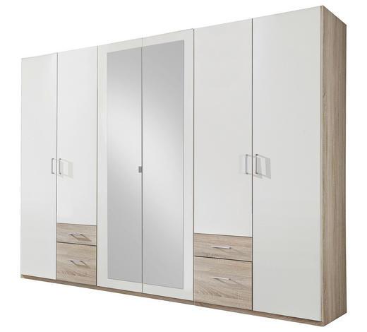 ec29c6f2c20d99 KLEIDERSCHRANK in Weiß, Eichefarben - Eichefarben/Silberfarben, Design,  Glas/Holzwerkstoff (