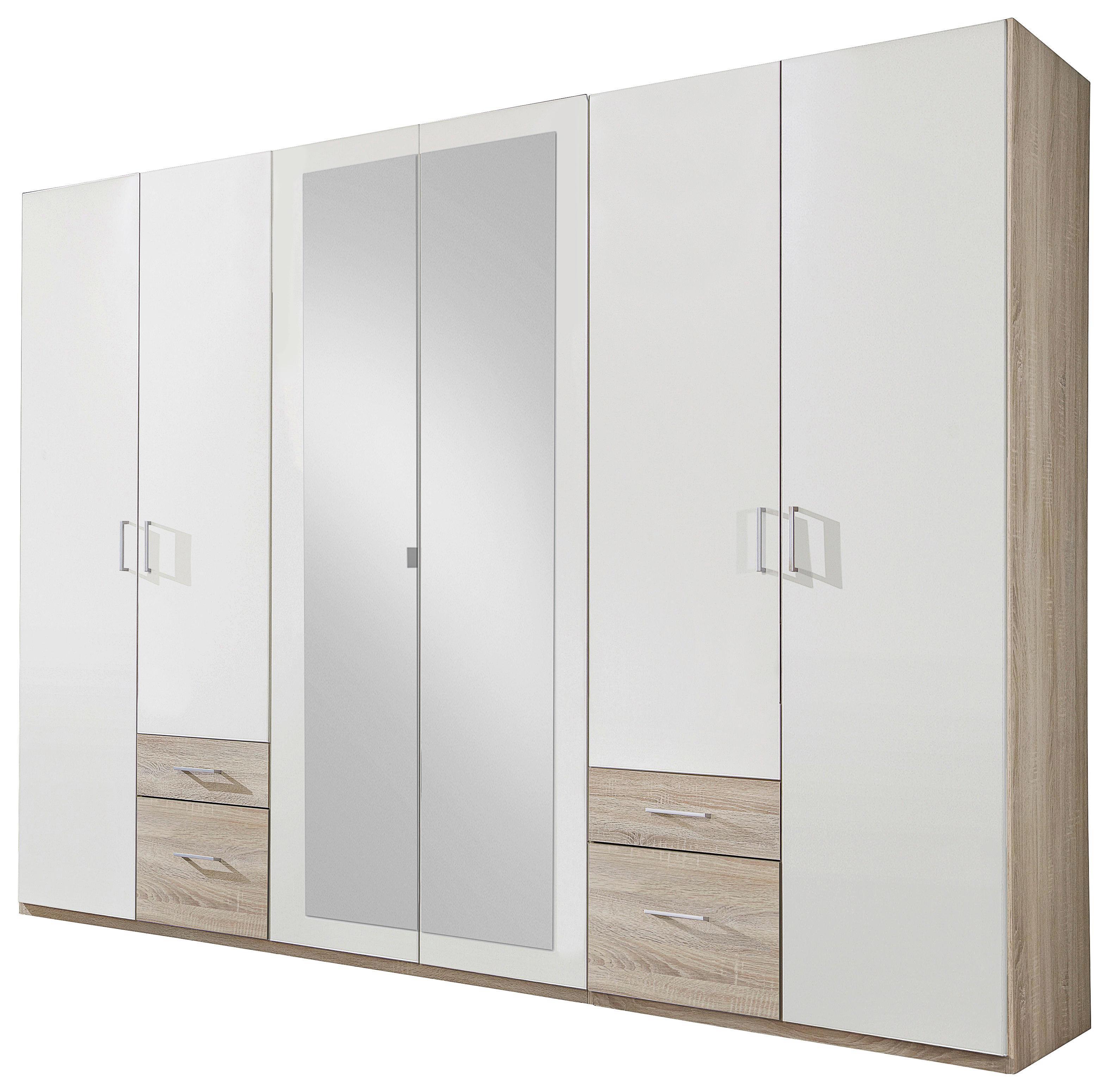 KLEIDERSCHRANK In Eichefarben, Weiß   Eichefarben/Silberfarben, Design,  Glas/Holzwerkstoff (