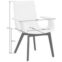 ARMLEHNSTUHL in Creme, Eichefarben - Eichefarben/Creme, Design, Leder/Holz (58/91/55cm) - Hülsta