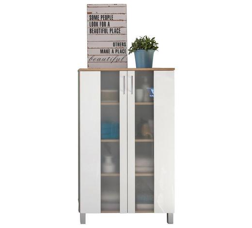 MIDISCHRANK 65/109/31 cm - Chromfarben/Eichefarben, Design, Glas/Holzwerkstoff (65/109/31cm) - Xora