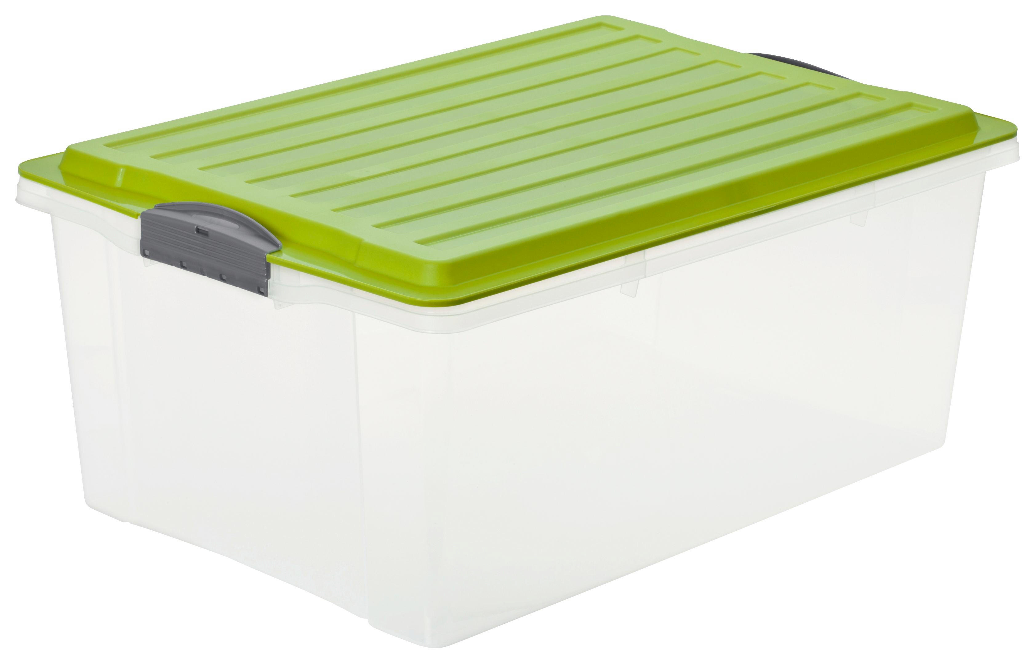 BOX MIT DECKEL - Klar/Grün, KONVENTIONELL, Kunststoff (40/25/57cm) - ROTHO