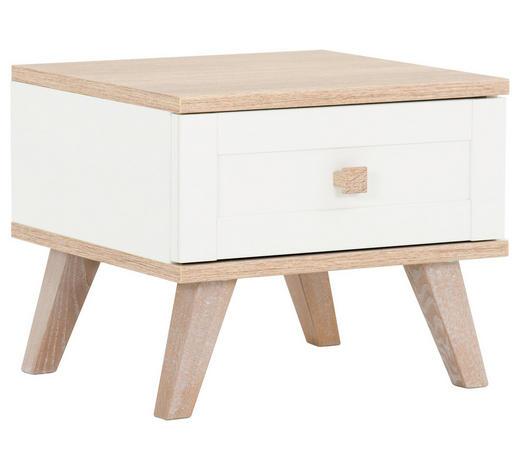 NOČNÍ STOLEK, bílá, barvy dubu - bílá/barvy dubu, Design, kompozitní dřevo (42/38/41cm) - Carryhome