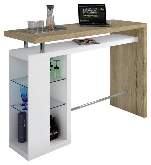 BAR - bijela/boje hrasta, Design, staklo/drvni materijal (157/110/55cm)