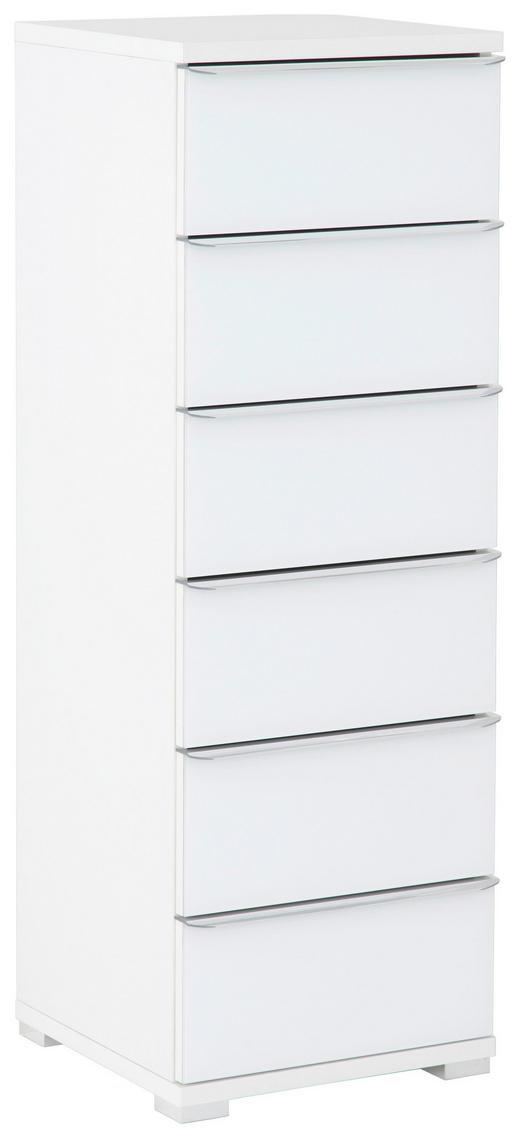 KOMMODE - Chromfarben/Weiß, Design, Glas/Holzwerkstoff (40/117/40cm) - Moderano